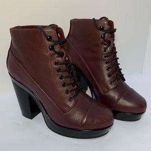 Aldo | Eggplant Heeled Ankle Boots | 6.5 | Black